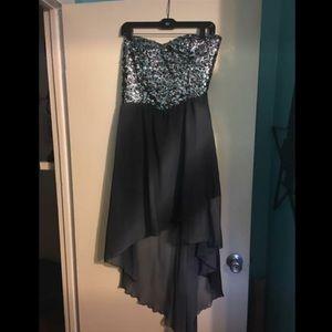 Black sparkly high low dress